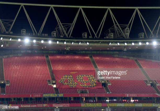 The North Bank stand at Emirates stadium before the Premier League match between Arsenal and Newcastle United on January 18, 2021 in London, England....