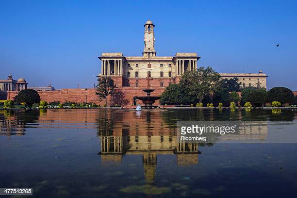 The North Block of the Central Secretariat building which houses the Ministries of Finance and Home Affairs stands in New Delhi India on Saturday...