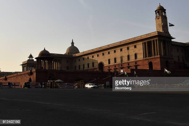 The North Block of the Central Secretariat buildings which houses the Ministries of Finance and Home Affairs stands in New Delhi India on Tuesday Jan...