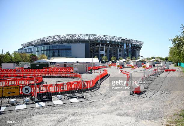 The North car park of Twickenham Stadium home to England Rugby is transformed into a drivethru COVID19 testing operations beginning today for key...