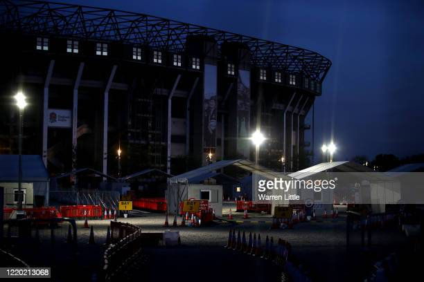 The North car park of Twickenham Stadium home to England Rugby is transformed into a drivethru COVID19 testing operations for key workers on April 21...