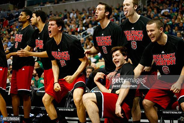 The North Carolina State Wolfpack bench reacts late in the second half against the Villanova Wildcats during the third round of the 2015 NCAA Men's...