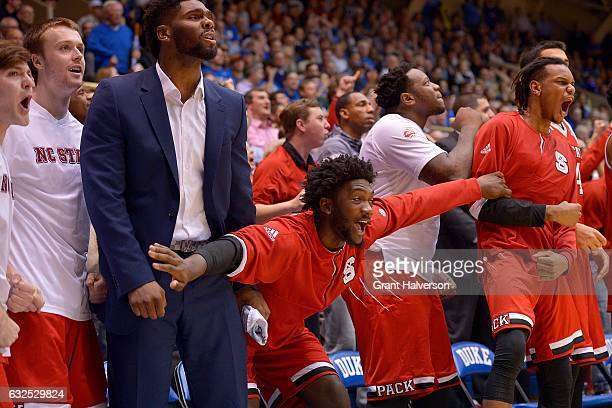 The North Carolina State Wolfpack bench watches during the final seconds of their game against the Duke Blue Devils at Cameron Indoor Stadium on...