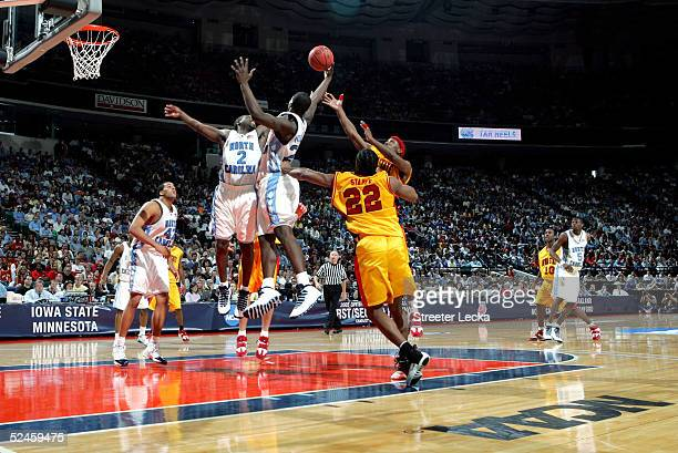 The North Carolina Tar Heels and the Iowa State Cyclones fight for a rebound during their second round NCAA Tournament game on March 20, 2005 at the...