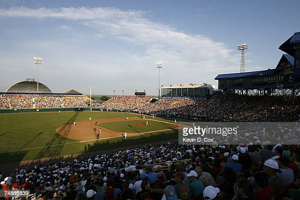 The North Carolina Tar Heels battle on offense in the fifth inning against the Rice Owls during the Tar Heels 7-4 win in Game 13 of the NCAA College...