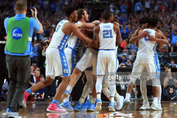The North Carolina Tar Heels celebrate after defeating the Gonzaga Bulldogs during the 2017 NCAA Men's Final Four National Championship game at...