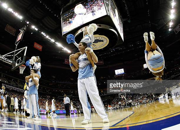 The North Carolina Tar Heels cheerleaders perform during a break in the game against the Florida State Seminoles during day two of the 2008 Men's ACC...