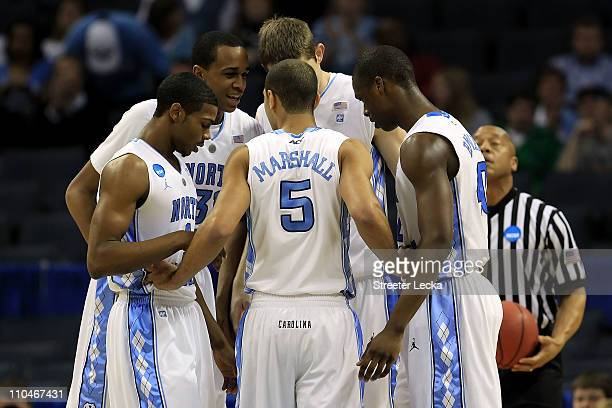 The North Carolina Tar Heels huddle while taking on the Long Island Blackbirds during the second round of the 2011 NCAA men's basketball tournament...