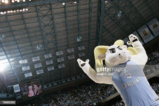 The North Carolina Tar Heels mascot performs during the game against the UC Santa Barbara Gauchos at Dean E. Smith Center on December 22, 2007 in...