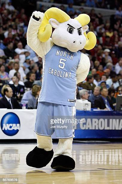 The North Carolina Tar Heels mascot performs on the court during a break in the game against the Oklahoma Sooners during the NCAA Men's Basketball...