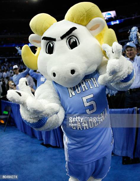 The North Carolina Tar Heels mascot Ramses cheers on the Tar Heels against the Louisville Cardinals during the 2008 NCAA Men's East Regional Final at...