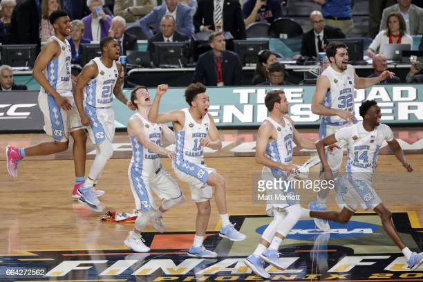 The North Carolina Tar Heels players take the court and celebrate after time expires during the 2017 NCAA Men's Final Four National Championship game...