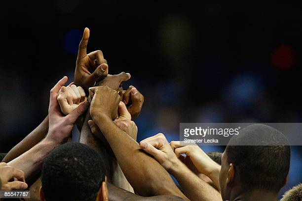 The North Carolina Tar Heels prepare to face the Louisiana State University Tigers during the second round of the NCAA Division I Men's Basketball...