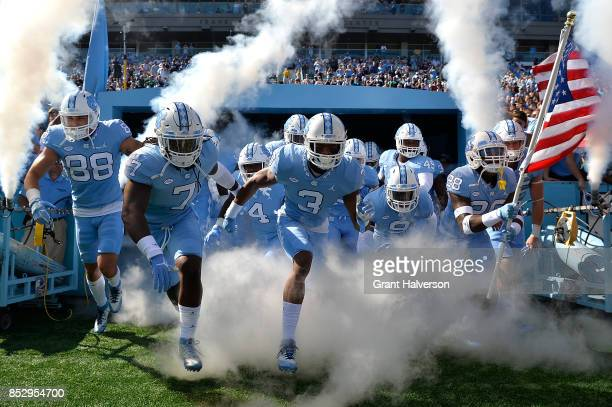 The North Carolina Tar Heels take the field for their game against the Duke Blue Devils at Kenan Stadium on September 23 2017 in Chapel Hill North...
