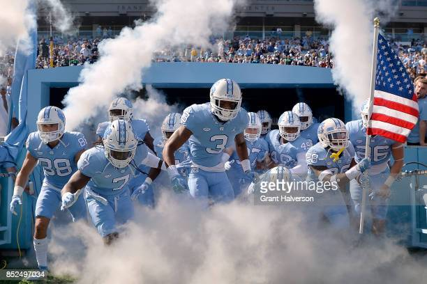 The North Carolina Tar Heels take the fiels for their game against the Duke Blue Devils at Kenan Stadium on September 23 2017 in Chapel Hill North...