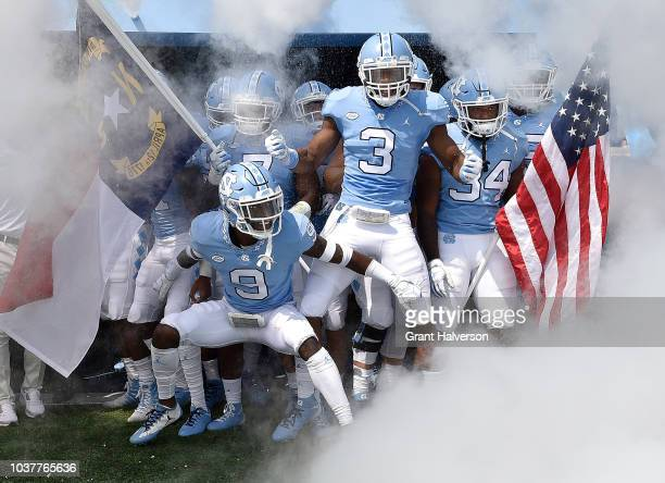 The North Carolina Tar Heels wait to take the field against the Pittsburgh Panthers during their game at Kenan Stadium on September 22, 2018 in...