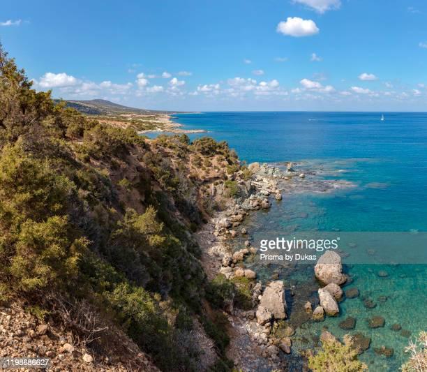 The north coast of the Akamas Peninsula National Park, Neo Chorio, Cyprus, Cyprus, 30070137.