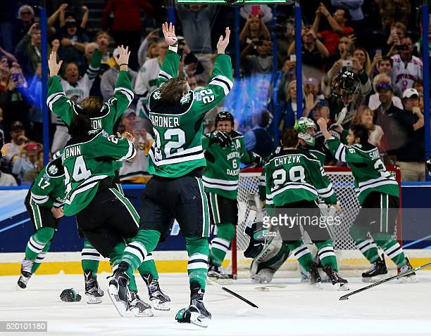 The North Dakota Fighting Hawks celebrate the win of the championship game of the 2016 NCAA Division I Men's Hockey Championships at Amalie Arena on...