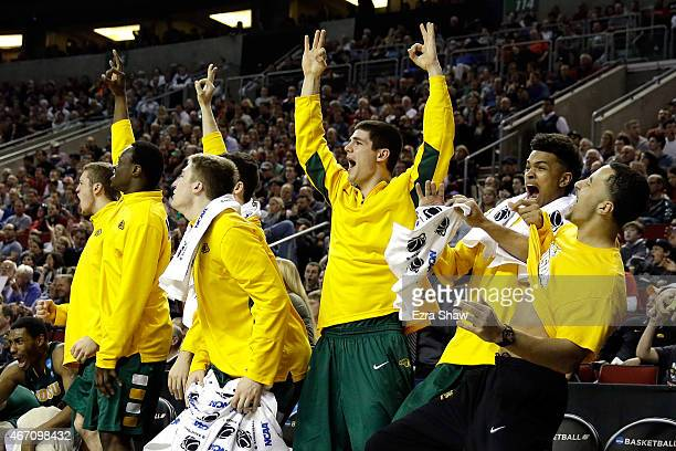The North Dakota State Bison bench reacts to points in the second half of the game against the Gonzaga Bulldogs during the second round of the 2015...