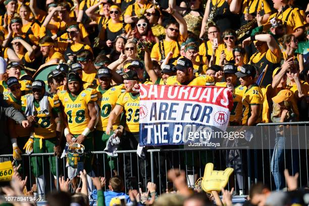 The North Dakota State Bison celebrate defeating the Eastern Washington Eagles during the Division I FCS Football Championship held at Toyota Stadium...