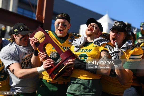 The North Dakota State Bison celebrate their victory over the James Madison Dukes during the Division I FCS Football Championship held at Toyota...