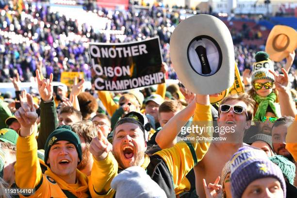 The North Dakota State Bison fans celebrate their victory over the James Madison Dukes during the Division I FCS Football Championship held at Toyota...