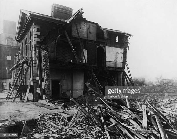 The north east wing of the Royal Hospital Chelsea, London, after it was hit by a 1000 kg bomb dropped by a German Zeppelin Staaken R.VI heavy bomber...