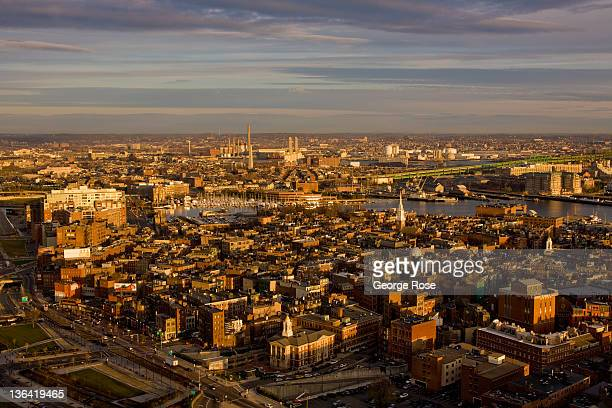The North End looking toward Bunker Hill is viewed from the Marriott Custom House Hotel on December 17 2011 in Boston Massachusetts Despite a global...