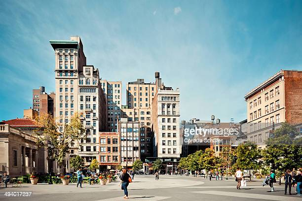 The north end of Union Square and 17th Street on a sunny afternoon.