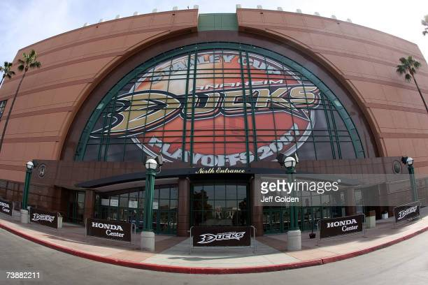 The north entrance of the Honda Center before game two of the 2007 Western Conference Quarterfinals between the Anaheim Ducks and the Minnesota Wild...