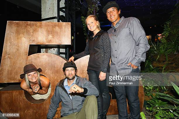 The North Face athletes Angel Collinson Renan Ozturk Emily Harrington and Jimmy Chin attend The North Face event celebrating the company's 50th...
