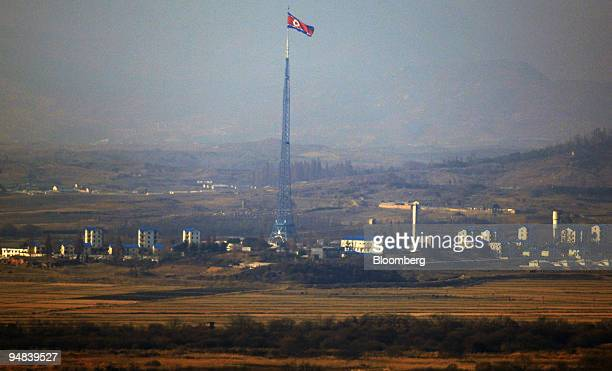 The North Korean flag is seen in this elevated view from the Dorasan Observation Post in the Demilitarized Zone of Paju South Korea on Friday Nov 28...