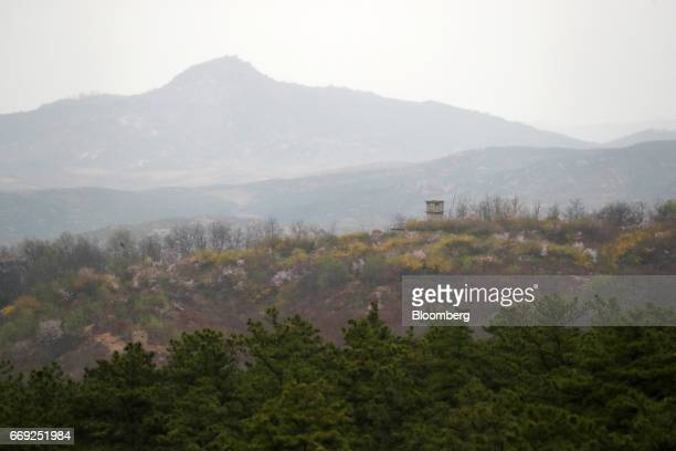 The North Korean side of the border is seen from the Observation Post Ouellette at the truce village of Panmunjom in the Demilitarized Zone in Paju...