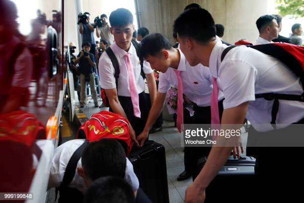 The North Korean table tennis team arrives at Incheon International Airport ahead of the ITTF Korean Open on July 15 2018 in Incheon South Korea It...