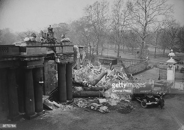 The North Lodge of Buckingham Palace damaged during an air raid on London
