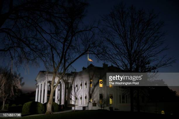 The North Portico of the White House is seen at sunrise on Christmas Day as government partial shutdown enters third day on December 25 2018 in...