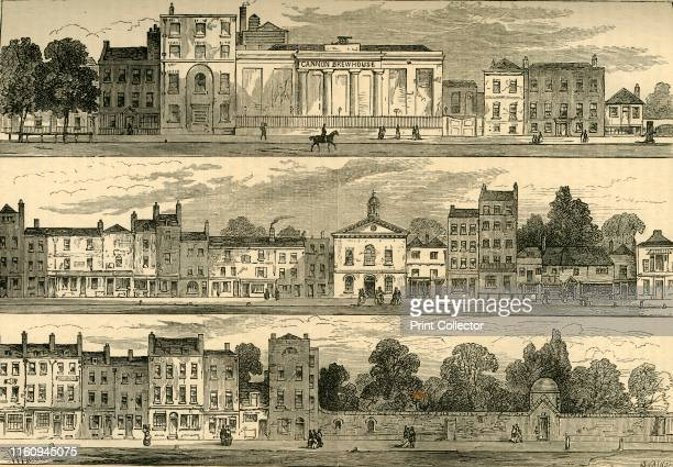"""The North Side of Knightsbridge in 1820, from the Cannon Brewery to Hyde Park Corner', . From """"Old and New London: A Narrative of Its History, Its..."""