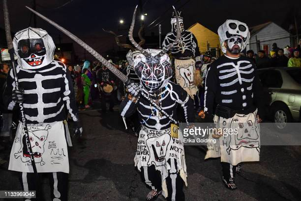The North Side Skull and Bone Gang walk the streets of the Treme neighborhood on March 5, 2019 in New Orleans, Louisiana.