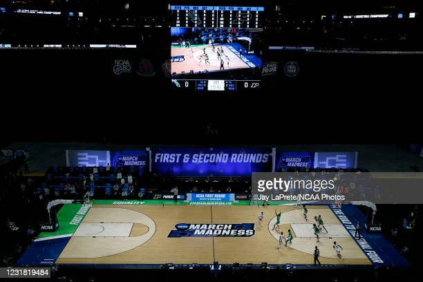 The North Texas Mean Green and the Purdue Boilermakers play in the first round of the 2021 NCAA Division I Mens Basketball Tournament held at Lucas...
