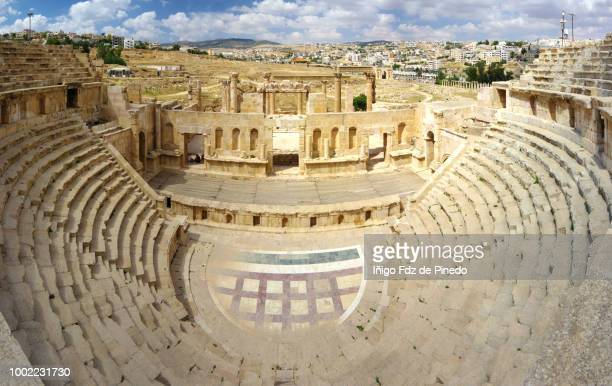 the north theatre ,jerash, jordan. - roman decapolis city stock pictures, royalty-free photos & images