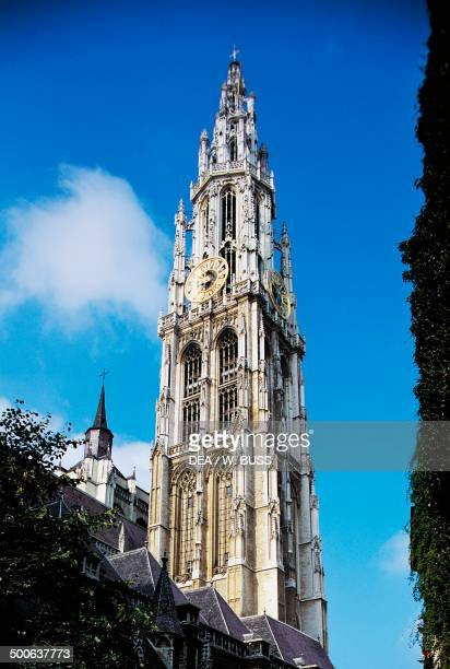 The north tower of the Cathedral of Our Lady Antwerp Belgium