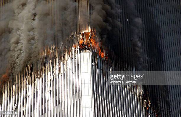 The north tower of the World Trade Center is on fire due to a terrorist act of a plane hittng the building in Manhattan, NY.