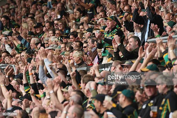 The Northampton crowd celerbate during the Guinness Premiership match between Northampton Saints and Worcester Warriors at Franklin's Gardens on...