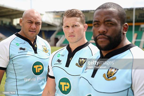 The Northampton Saints front row Soane Tonga'uiha Dylan Hartley and Brian Mujati of Northampton Saints pose during a media session at Franklin's...