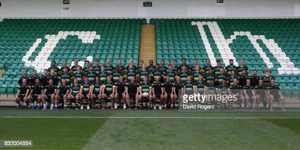 The Northampton Saints full squad pose for a team photo during the photocall held at Franklin's Gardens on August 15 2017 in Northampton England