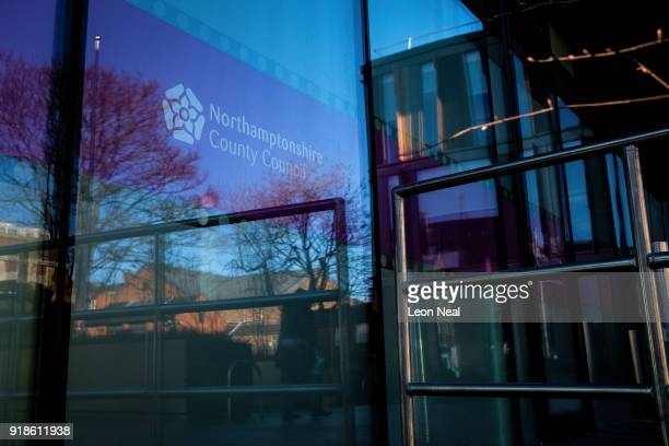 The Northamptonshire County Council logo is seen in the window of the new One Angel Square office block near the town centre on February 15 2018 in...
