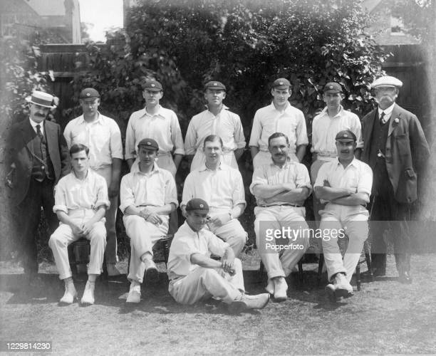 The Northamptonshire county cricket team line up for a team photograph circa 1912 Back row L Bullimer Walter Buswell Claud Woolley Robert Haywood...