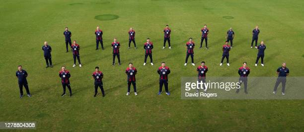 The Northamptonshire County Cricket team pose for a team photograph at The County Ground on October 06 2020 in Northampton England