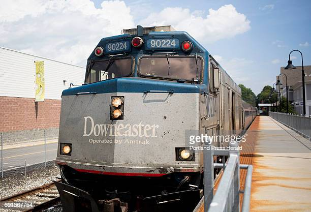The northbound Amtrak Downeaster at the train station in Brunswick Amtrak secured funding to install a rail siding that will allow the agency to run...