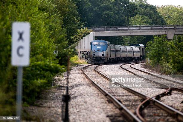 The northbound Amtrak Downeaster heads toward it's stop in Brunswick Amtrak secured funding to install a rail siding that will allow the agency to...
